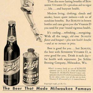 Schlitz vitamin D beer ad